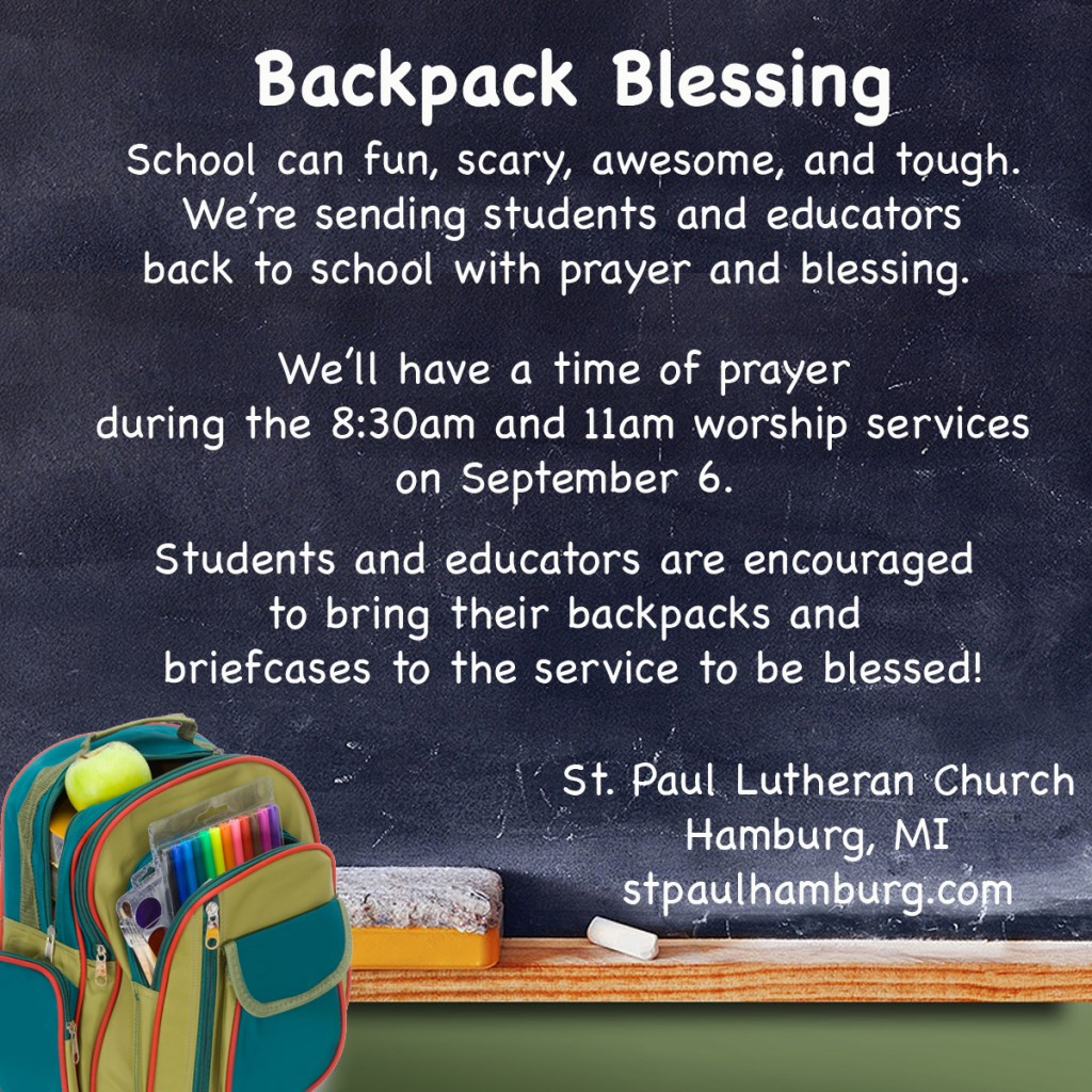 Backpack Blessing St Paul Lutheran Church